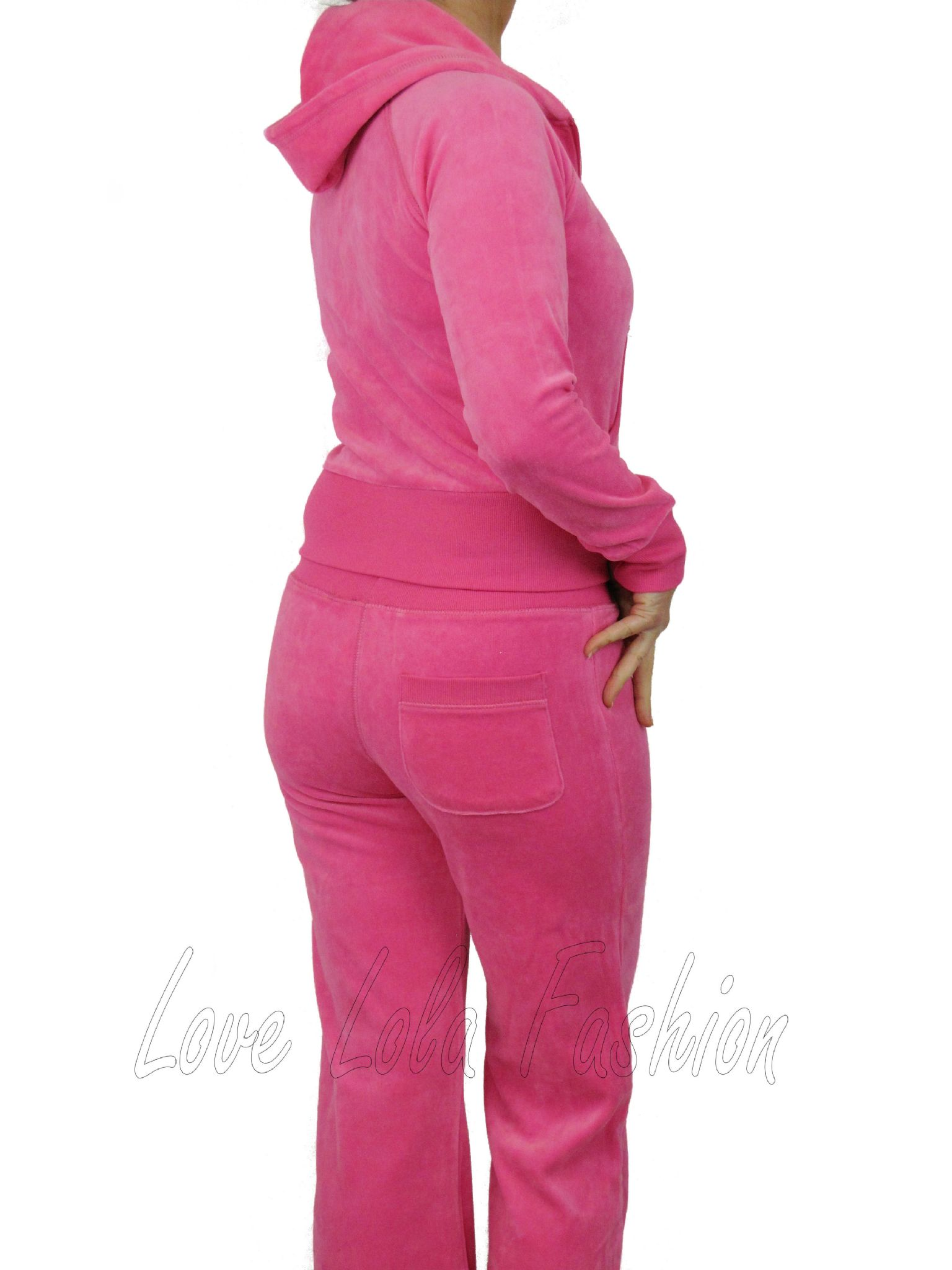 Love Lola Womens Velour Tracksuits Hot Pink